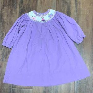 Corduroy princess smocked dress